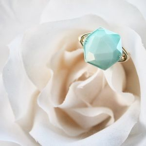 HANDMADE / Aqua Glass Hexagon Ring